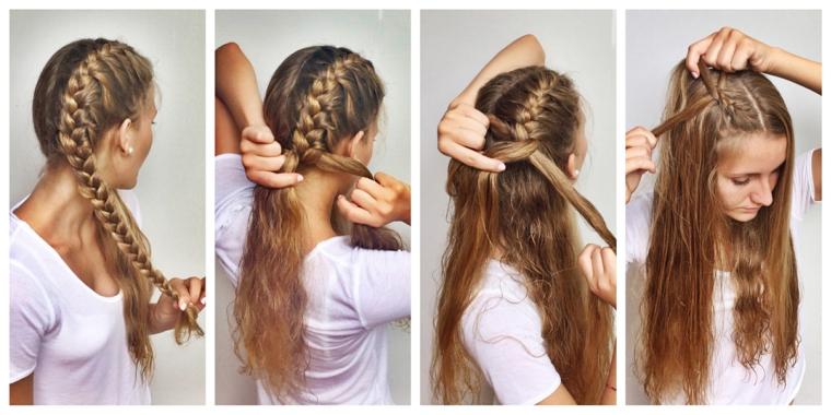 Come legare i capelli, due trecce laterali, donna con capelli biondi, maglietta bianca manica corta