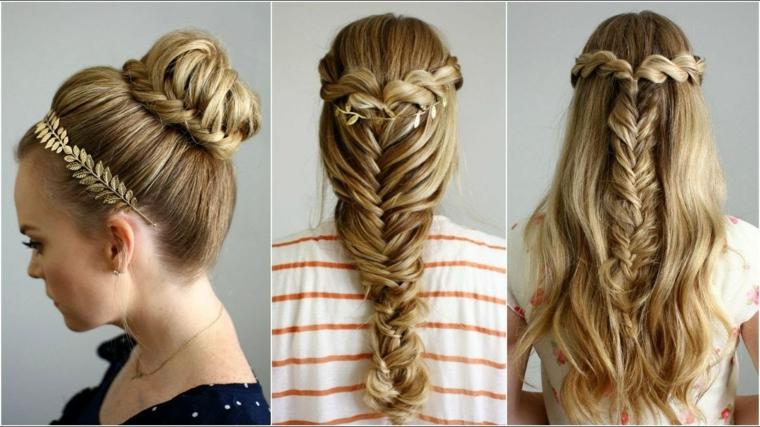 Treccia a spina di pesce, acconciature capelli lunghi lisci, cerchietto di metallo floreale
