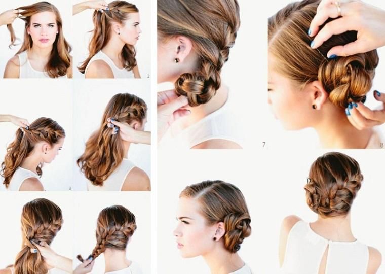 Come legare i capelli, donna con capelli biondi, treccia legata a chignon
