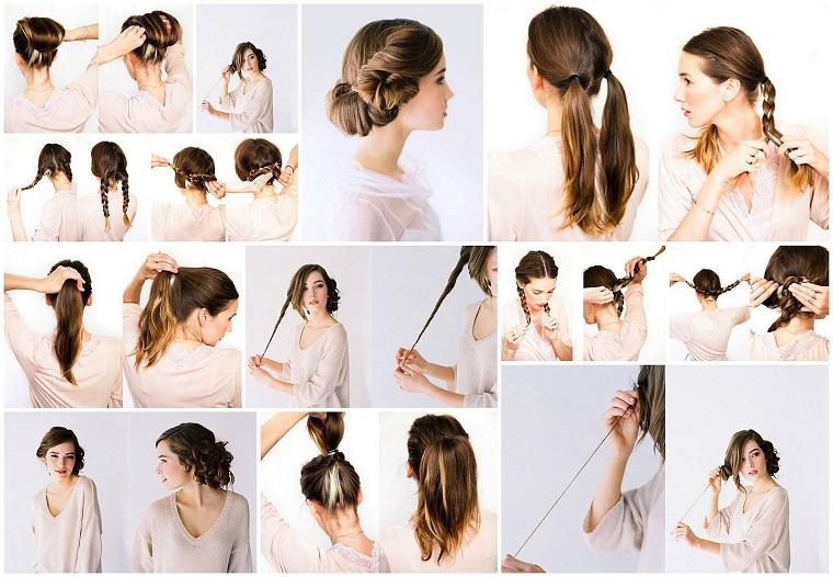 Donna con capelli castani, trecce capelli tutorial, donna con con capelli mossi