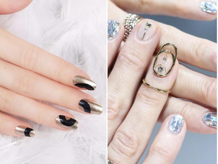 Unghie a mandorla, disegni sulle unghie, decorazioni con brillantini, mano di una donna
