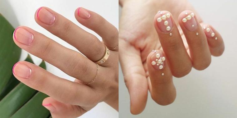 Manicure con perle bianche, french manicure colorata, colori estivi unghie