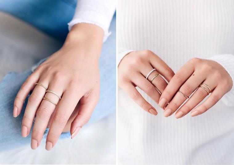 Forme unghie gel, smalto per unghie colore beige, anelli in oro per donna, manicure forma arrotondata