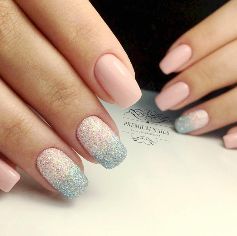 Unghie gel decorazioni semplici, smalto rosa effetto sugar, unghie forma squadrata