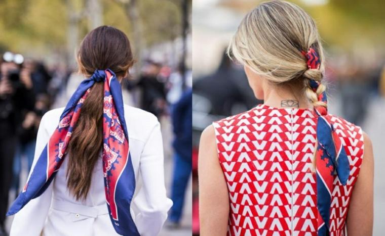 Donna con tatuaggio sul collo, treccia con foulard, capelli biondo balayage