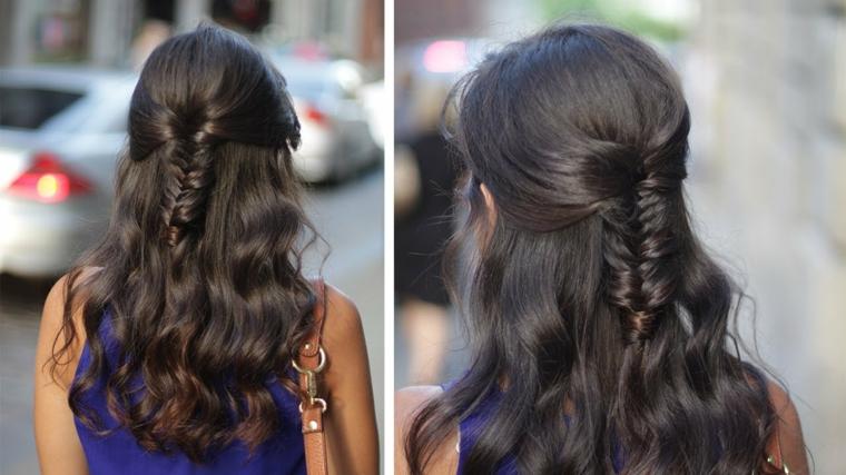 Piega capelli lunghi, donna con capelli neri, treccia a spina di pesce, donna girata di spalle