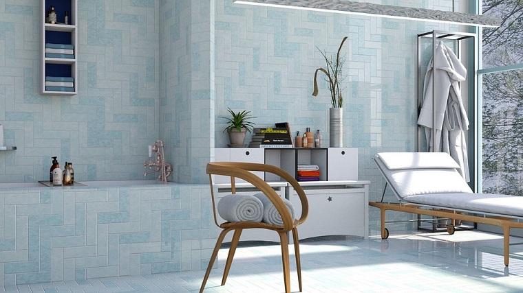 Mobili bagno moderni economici, piastrelle bagno di colore azzurro, lettino e sedia di legno