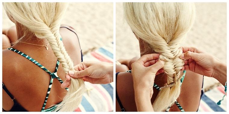 Donna con capelli biondi, acconciature bellissime, tutorial per fare una treccia
