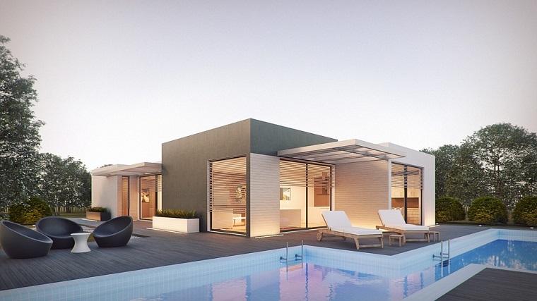 Casa con giardino, giardino con piscina, piscina interrata, set di mobili per outdoor