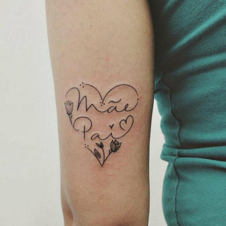 Tatuaggi bellissimi, tattoo disegno cuore, cuore con nomi, disegno fiorellini