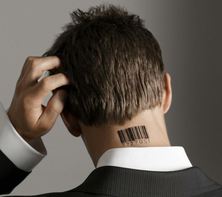 Tatuaggio codice a barre, ctalogo tatuaggi, tattoo uomo sul collo