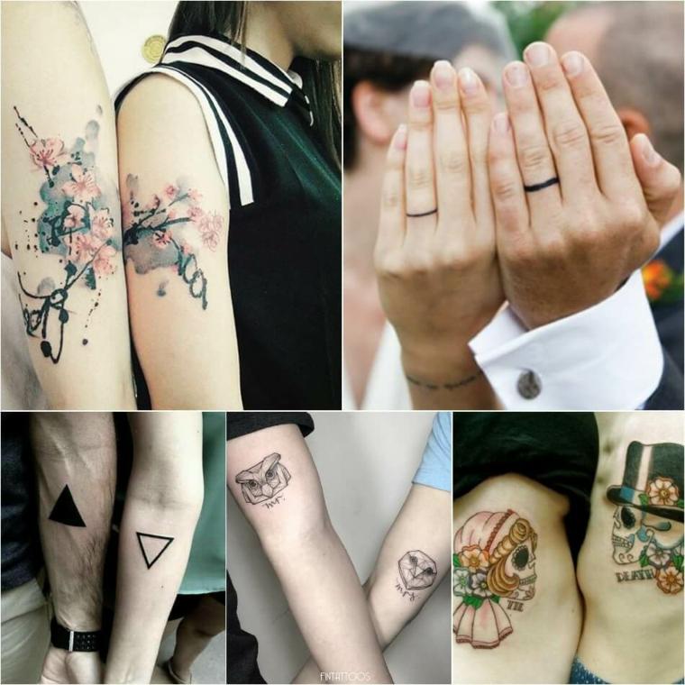 Tattoo watercolor sul braccio, disegno sugar skull uomo e donna, disegno anello sulle dita