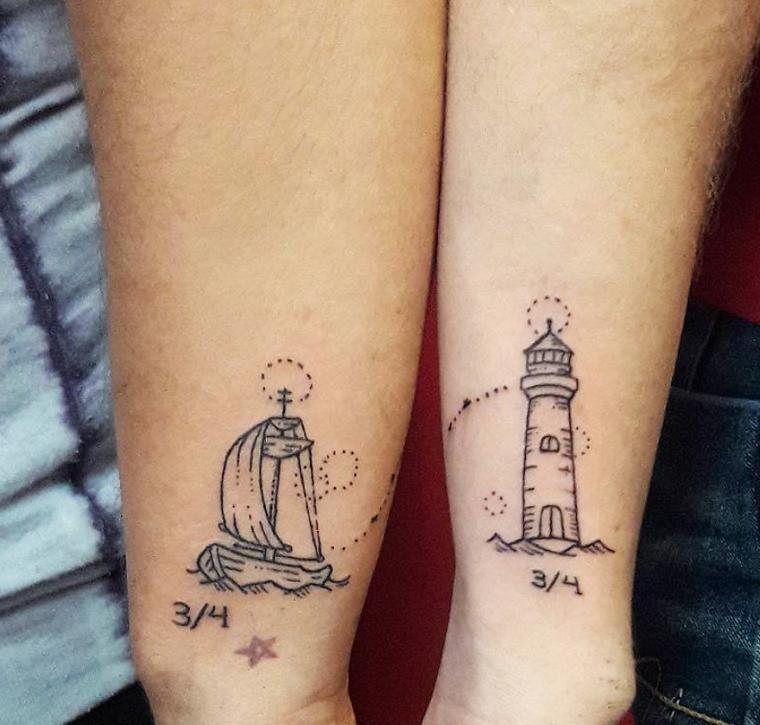Tatuaggio barca e faro, tattoo stella piccola, tatuaggi per coppie innamorate