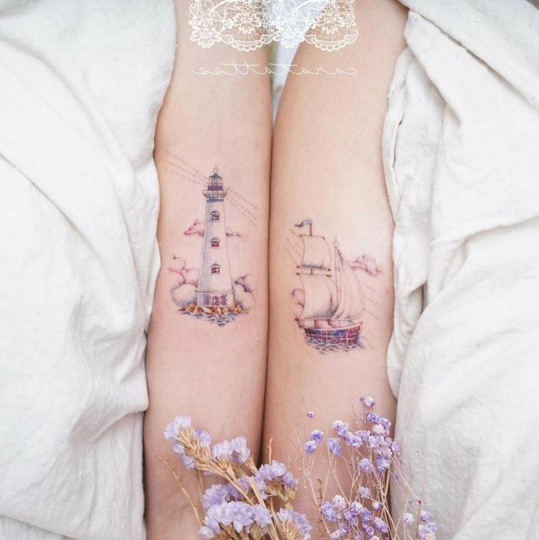 Tatuaggio watercolor temporaneo, tatuaggi più belli, tattoo barca e faro, tatuaggio sull'avambraccio