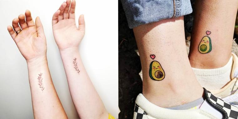 Tattoo avocado sulla caviglia, tatuaggio sul polso, tattoo fiori di lavanda, foto collage tatuaggi