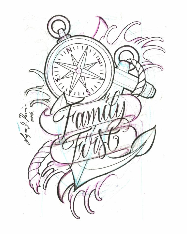 Tatuaggi significati profondi, disegno a matita per un tattoo, tattoo bussola con scritta