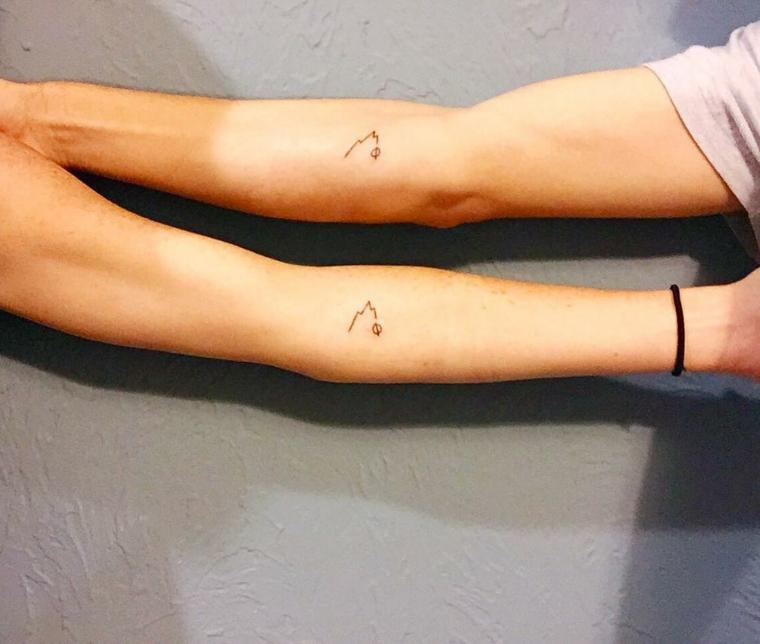 Tatuaggio avambraccio montagna, tatuaggi per coppie innamorate, braccio uomo e donna
