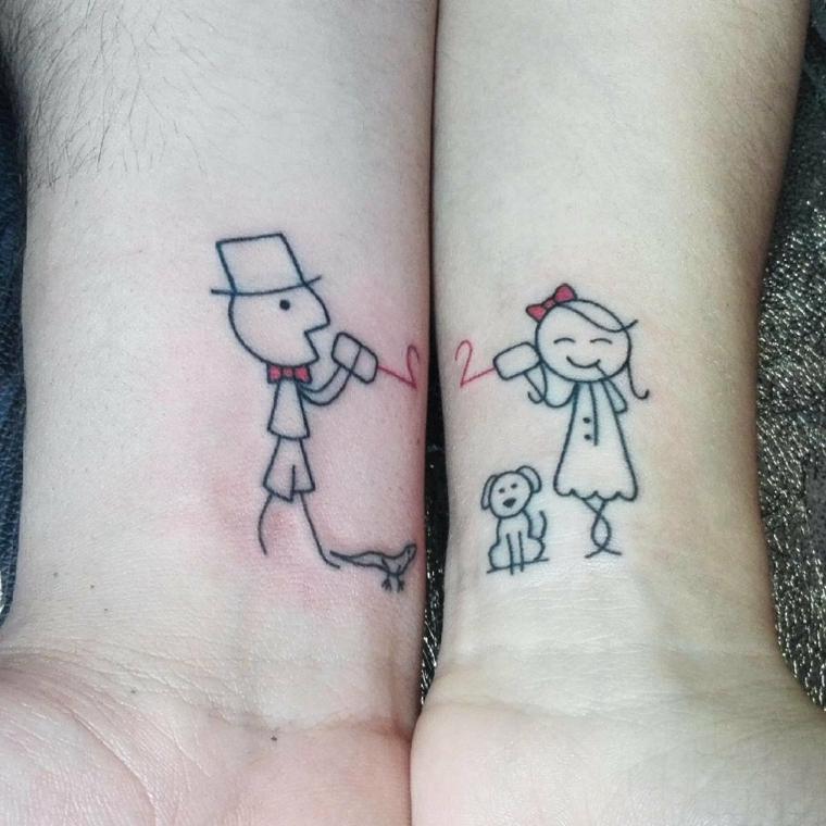 Tatuaggio con disegno, tattoo sul polso, disegno tattoo cane, tatuaggi sul polso