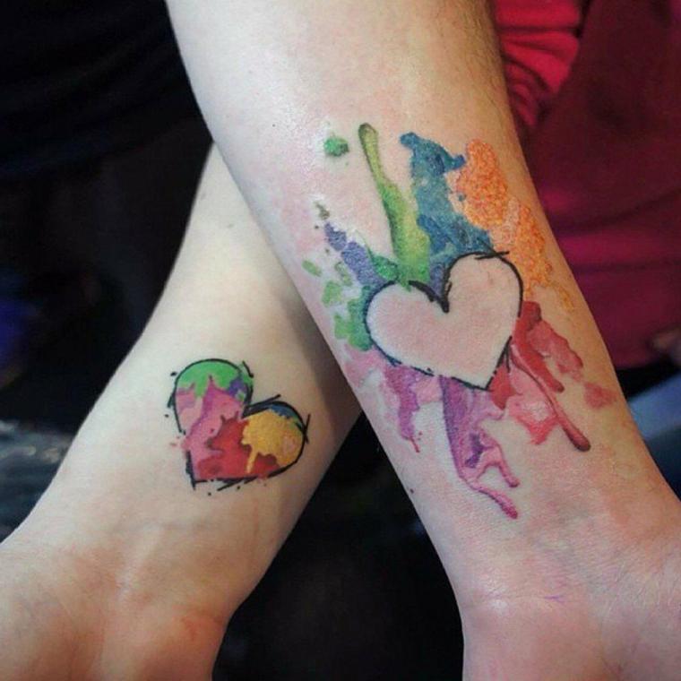 Tattoo sul polso, tatuaggio watercolor temporaneo, tatuaggio sul polso
