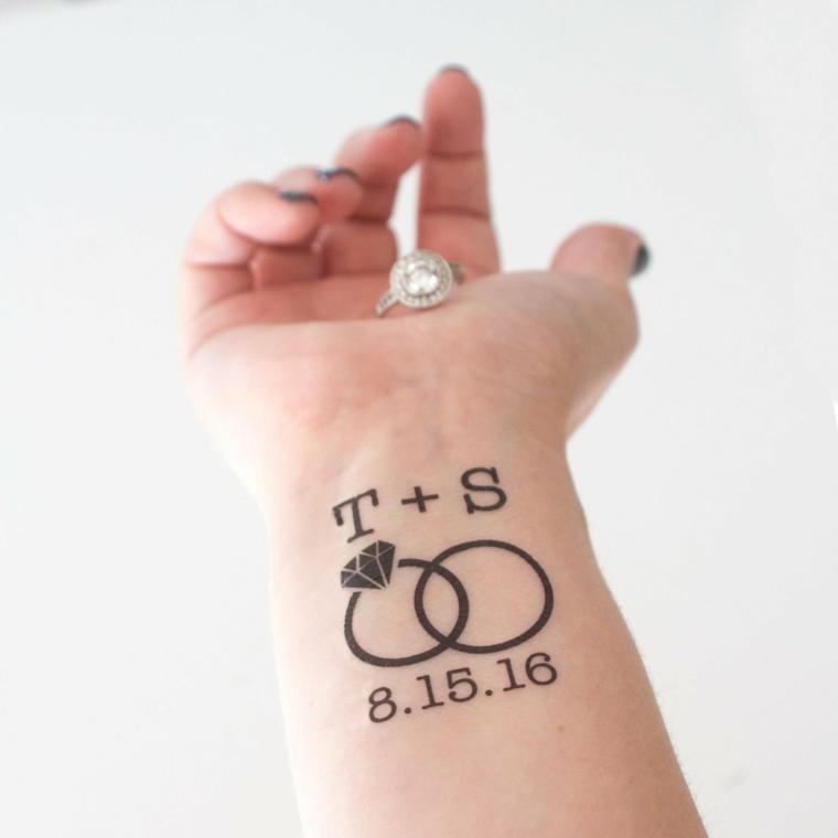 Disegno tattoo temporaneo, disegno anelli fidanzamento, tatuaggi piccoli particolari femminili