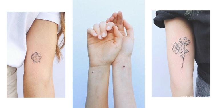Tatuaggio conchiglia, tatuaggi cuore sul polso, tattoo fiore sul braccio