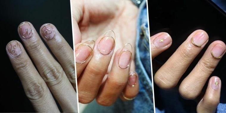 Manicure con bordi tridimensionali, unghie gel decorazioni semplici, smalto base rosa cipria