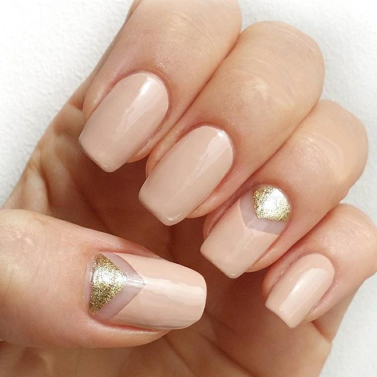 Unghie gel decorazioni semplici, manicure forma squadrata, french manicure inversa
