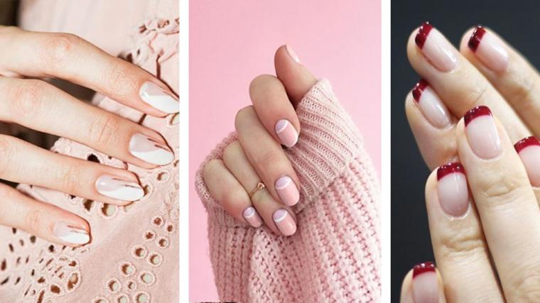 Unghie gel decorazioni semplici, unghie a mandorla, french manicure smalto rosso