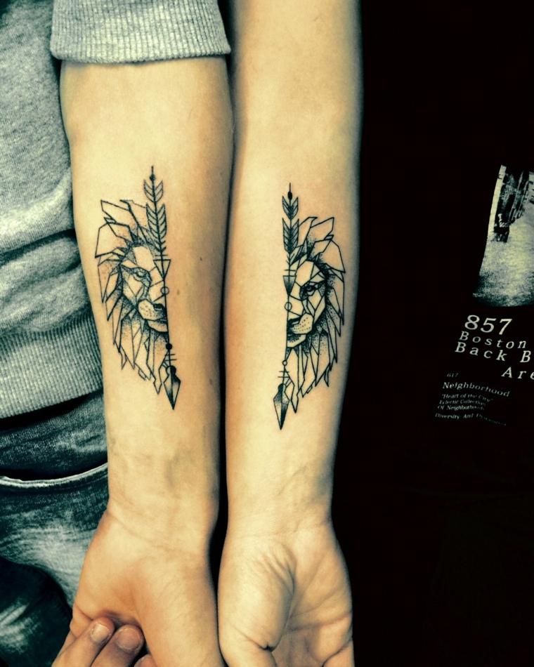 Tatuaggi da fare in coppia, disegno separato a metà, tattoo avambraccio