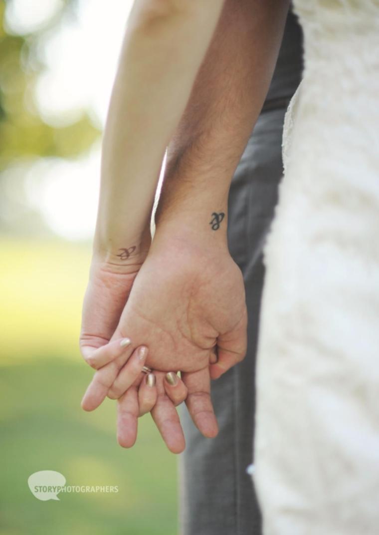 Tatuaggi di coppia, tattoo sul polso della mano, tattoo disegno simbolo E commerciale