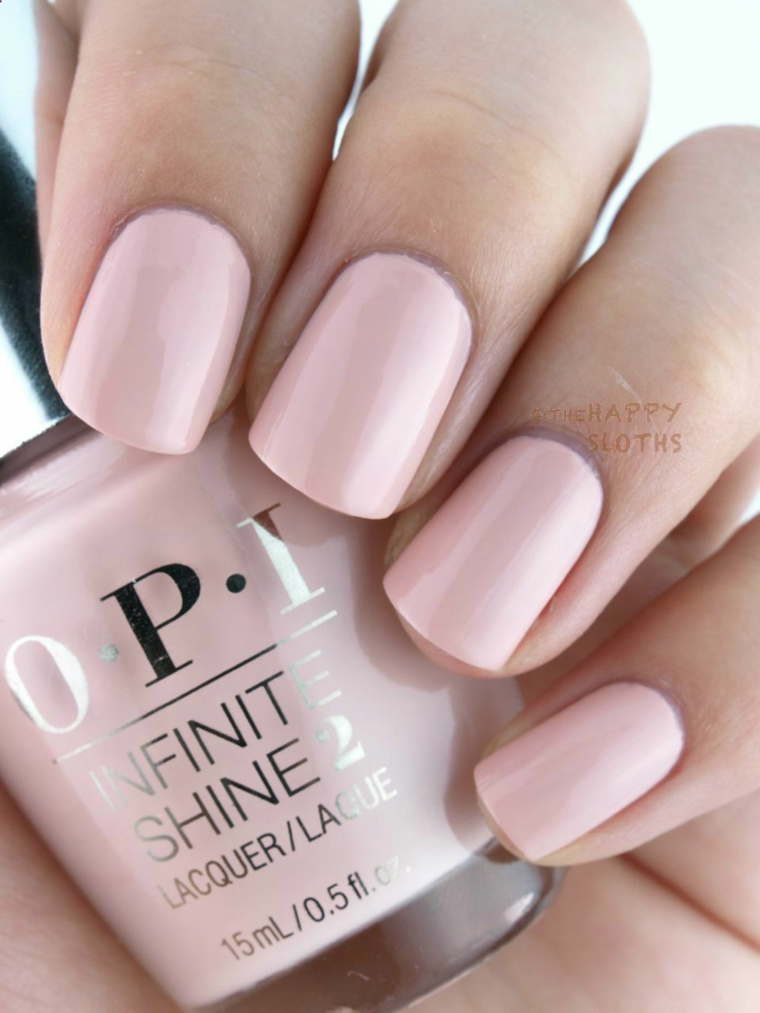 Smalto rosa Opi, unghie bordi arrotondati, unghie gel colorate