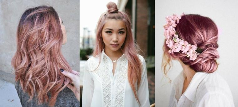 Tre acconciature capelli mossi, capelli tinti di rosa, capelli colorati sfumati