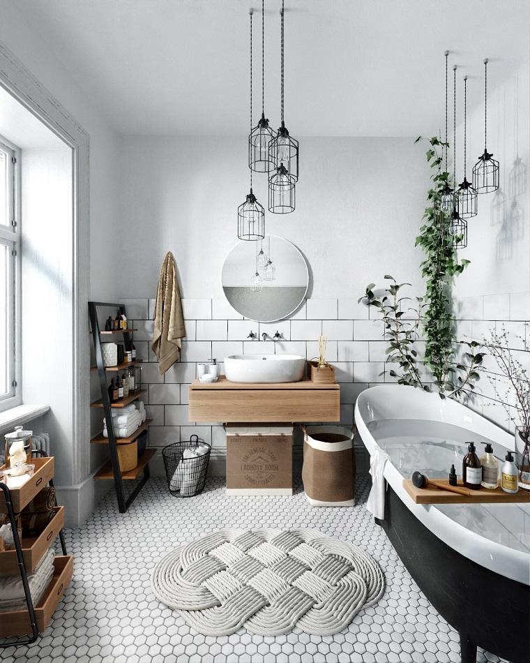 Rivestimenti bagni esempi, mobile bagno di legno, rivestimento pareti con piastrelle