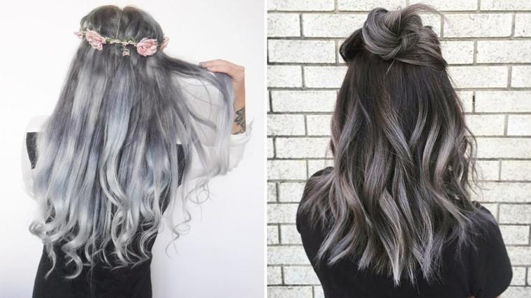 Tinta capelli grigio cenere, acconciatura capelli lunghi ricci, cerchietto con fiori