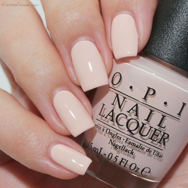 Smalto Opi rosa, unghie lunghe squadrate, smalto rosa acrilico, unghie rosa antico