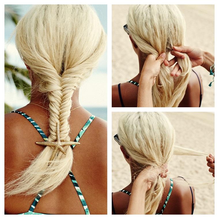 Acconciature bellissime, donna con capelli biondi, pettinatura con treccia a spina di pesce, molletta forma stella marina