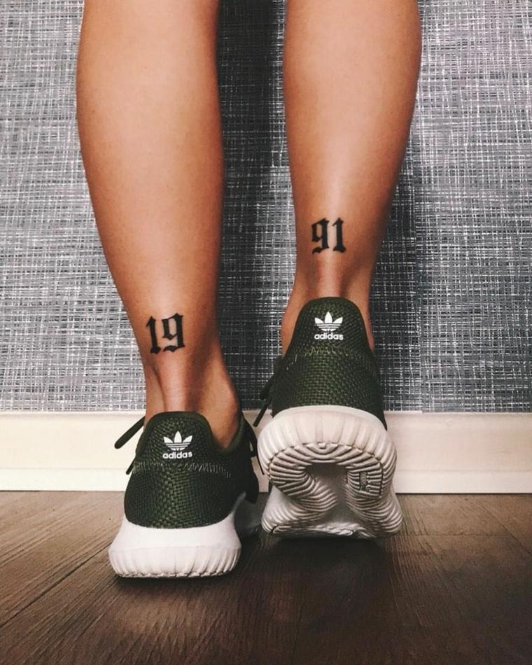 Tatuaggi numeri, tatuaggio sulla caviglia, tattoo numero 1991
