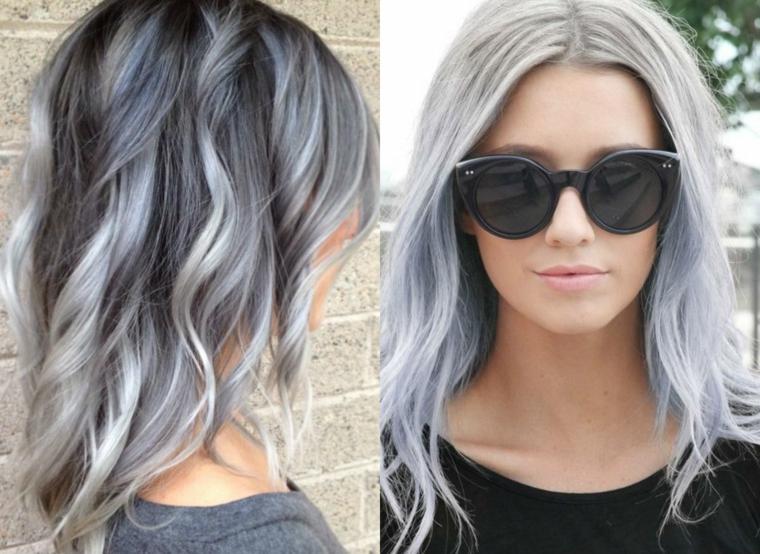 Capelli neri e grigi, acconciatura con ricci, donna con occhiali da sole, collage due foto