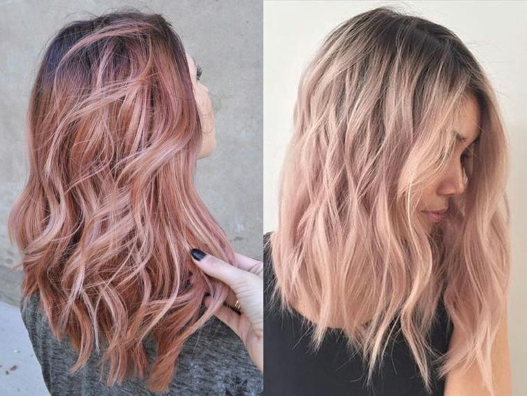 Capelli sfumati, ragazza bionda con meches di colore rosa, collage di due foto
