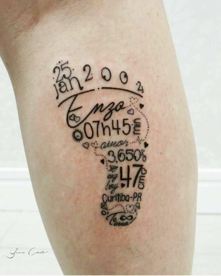 Tatuaggio impronta piedino, catalogo tatuaggi, tattoo con data e peso neonato