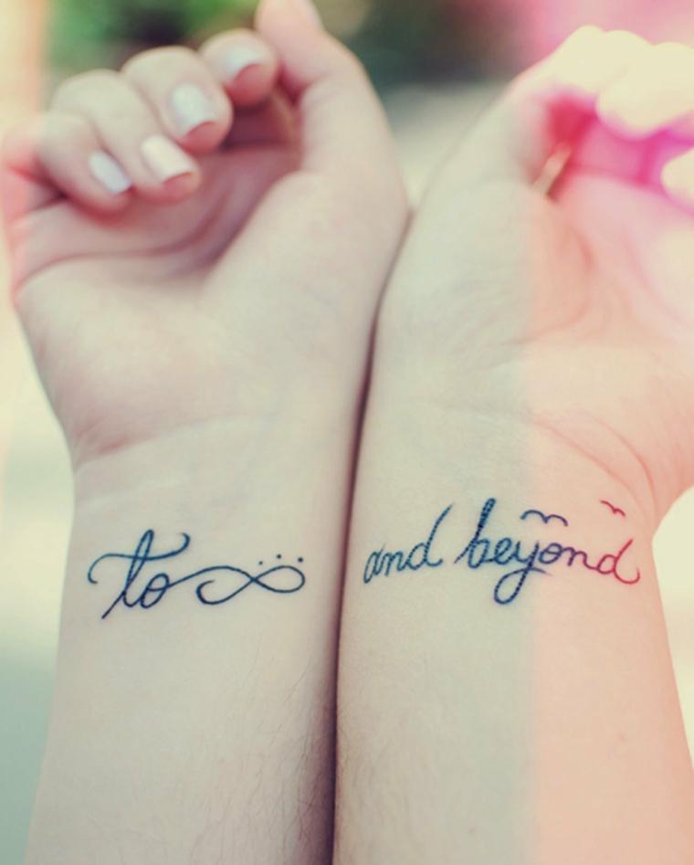 Tatuaggio simbolo infinito, tatuaggi fidanzati, tattoo sul polso della mano, tattoo scritta