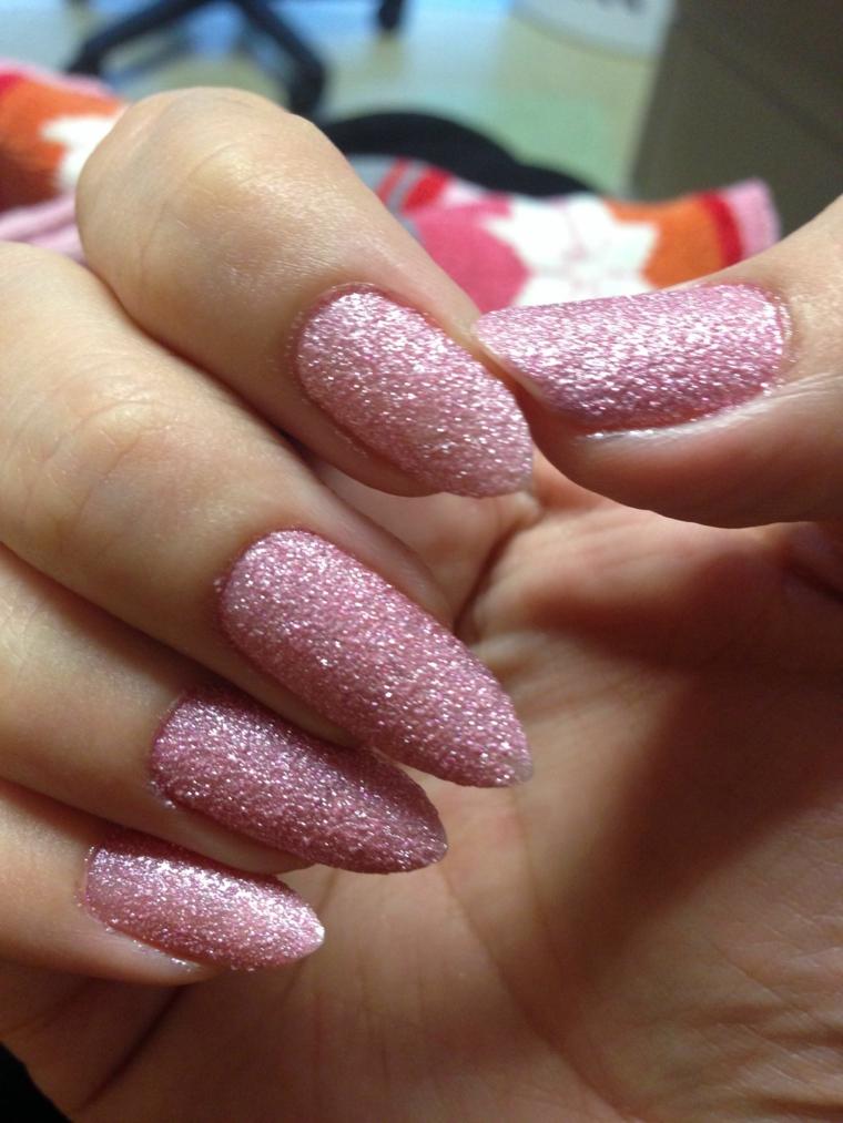 Stiletto effetto sugar, unghie gel semplici, smalto sugar colore rosa