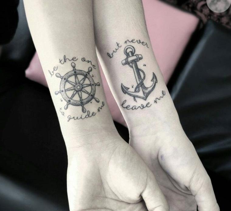 Tatuaggi per coppie innamorate, disegno tattoo ancora con scritta, tatuaggio polso con scritta