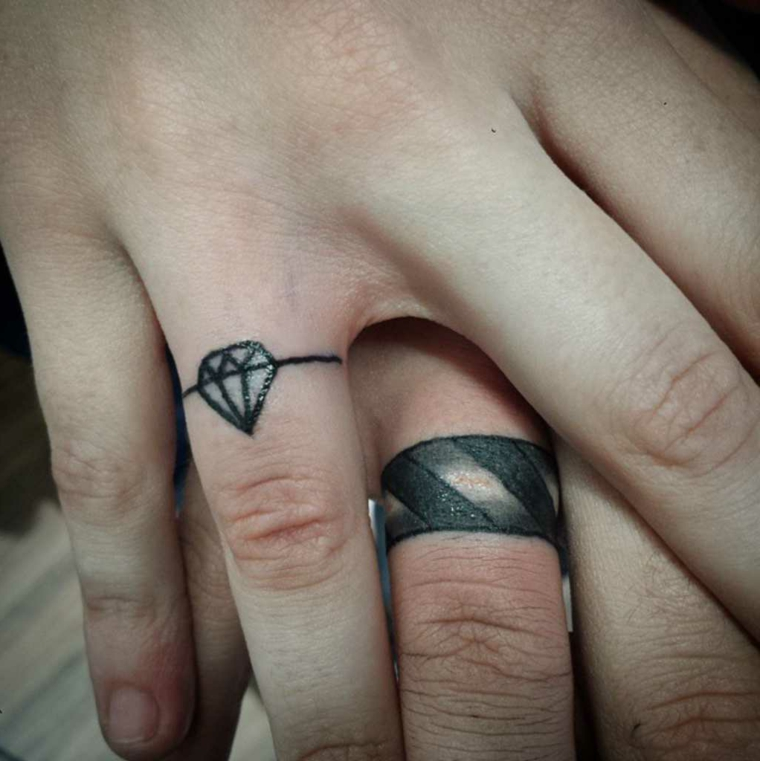Tatuaggi disegno anelli, disegno tattoo diamante, tatuaggi sulle dita
