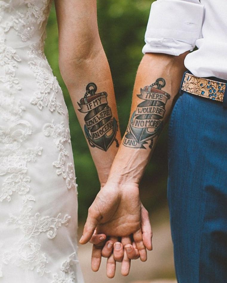 Tattoo per sposi, tattoo di coppia, tatuaggio con scritta in inglese, tatuaggio sull'avambraccio