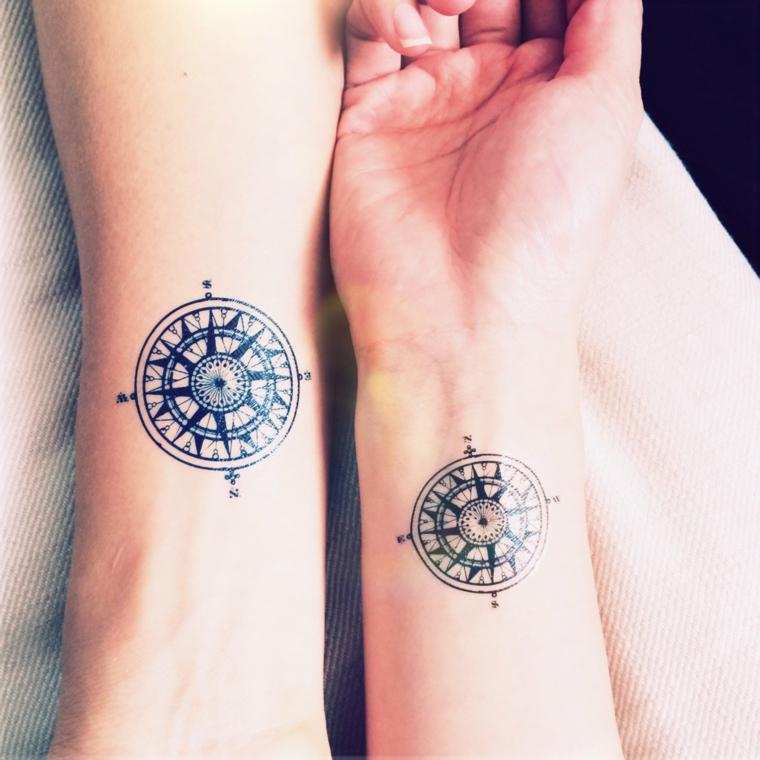 Tatuaggi da fare in coppia, disegno bussola tattoo, tatuaggio sul polso della mano