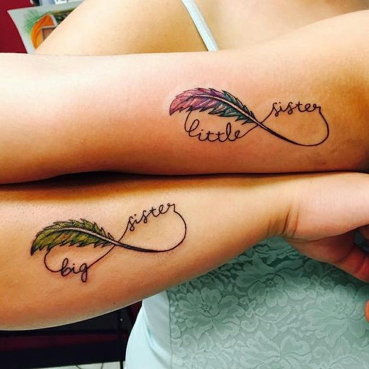 Tatuaggi per sorelle, tattoo simbolo infinito, tattoo piuma colorata, tatuaggi per donne