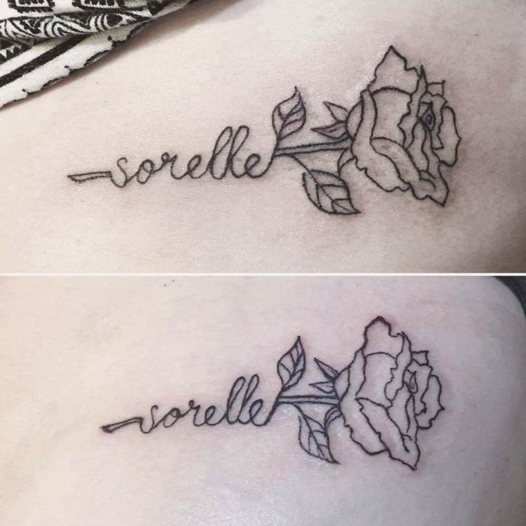 Tatuaggio per sorelle, disegno tattoo rosa, tatuaggio dedicato alla famiglia