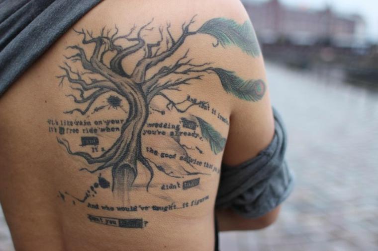 Uomo con la schiena tatuata, tatuaggio albero con scritte, simboli tattoo