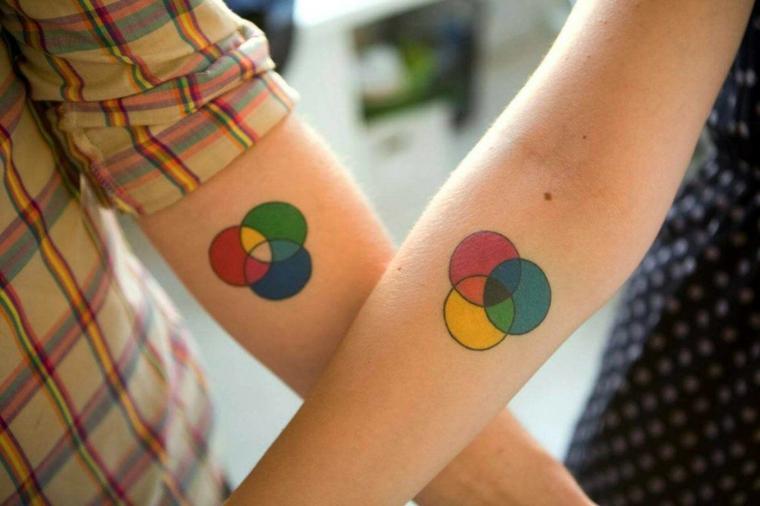 Tatuaggi piccoli donna, tattoo sull'avambraccio, disegno cerchi colorati